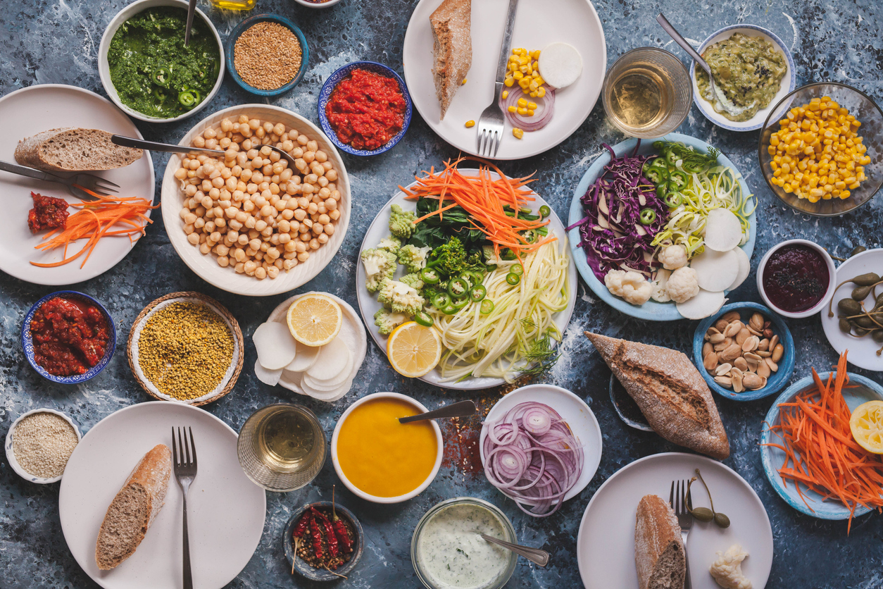 large spread of vegan foods